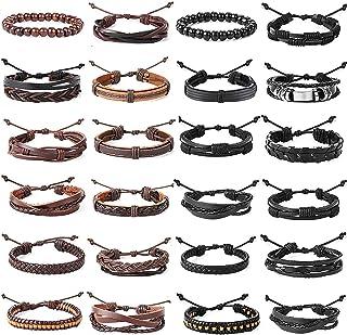 YADOCA 16-24 Pezzi Set Bracciali Pelle Uomo Donna Multistrato Bracciali Intrecciato Cuoio Perline di Legno Braccialetto Re...