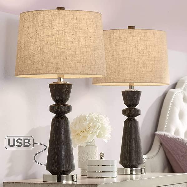 艾伯特现代台灯 2 件套带 USB 充电口天然木纹燕麦鼓罩客厅卧室床边床头柜办公室家庭摄政山