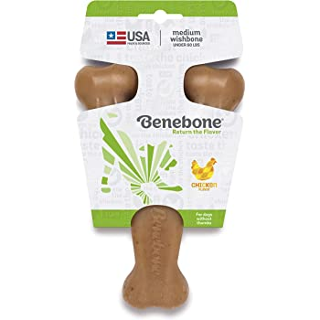 Benebone Real Bacon Durable Wishbone Dog Chew Toy for Aggressive Chewers, Made in USA