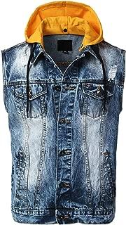 URBANCREWS Mens Hipster Hip Hop Button-Down Sleeveless Denim Vest Jacket