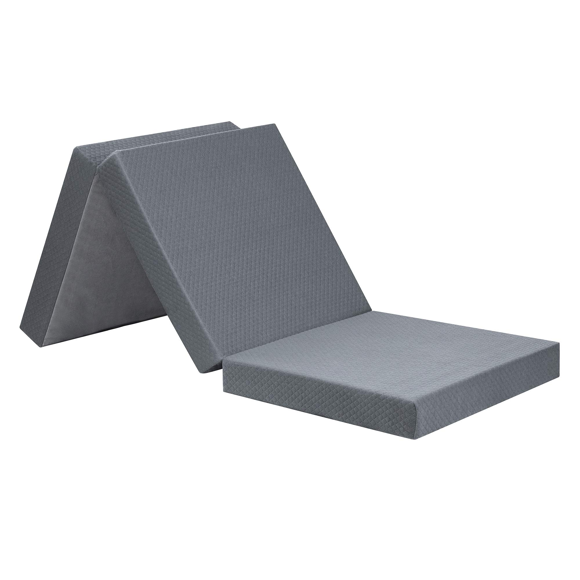 """Olee Sleep Tri-Folding Memory Foam Topper, 4"""", Gray, Single size, Play Mat, Foldable bed, Guest beds, Portable bed"""