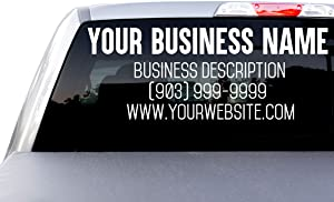 Large Custom Business Name and Website Description Text Decal Sticker for Car Windows, Signs, Schools, Doors, Windshield, Boats, RV, Coolers, and Storefronts (20 + Colors and Sizes)