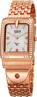Burgi Women's Quartz Watch with Stainless-Steel Strap, Grey, 19 (Model: BUR171GN)
