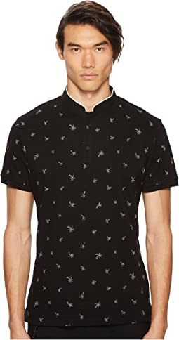 Black Cotton Polo Shirt with Palm Tree Embroidery