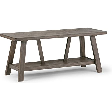 Simplihome Dylan Solid Wood 48 Inch Wide Entryway Bench Open Bottom Shelf Modern Industrial In Driftwood Furniture Decor
