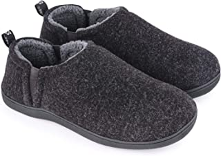 Men's Fuzzy Wool Felt Memory Foam Slippers with Dual Side Elastic Gores
