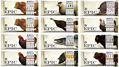 Epic Bars Variety 12 Pack - 100% Animal-Based Whole Protein, Best Kind of Jerky, Perfect For Paleo (Beef, Turkey, Salmon, ...