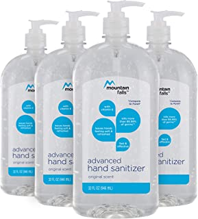 Mountain Falls Advanced Hand Sanitizer with Vitamin E, Original Scent, Pump Bottle, 32 Fluid Ounce (Pack of 4)