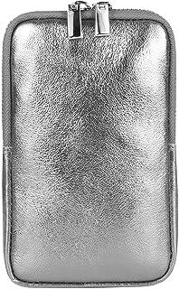OBC Made in Italy Damen Leder Handytasche Tasche Umhängetasche Schultertasche Smartphone Metallic Minibag Geldtasche Leder...