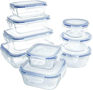 1790 Glass Food Storage Containers with Lids, [18 Piece] Glass Meal Prep Containers, Airtight Glass Lunch Boxes, BPA-Free & FDA Approved & Leak Proof (9 Lids & 9 Containers)