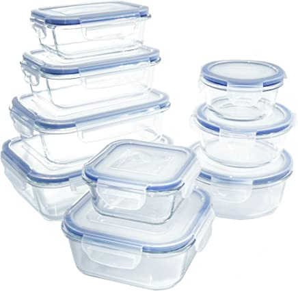 1790 18 Piece Glass Food Storage Container Set; BPA Free Kitchen Containers Storage Set