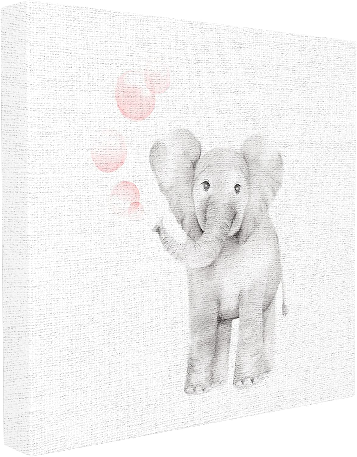 Stupell Industries Baby Elephant Pink Bubbles Linen Look Stretched Canvas Wall Art, Proudly Made in USA