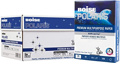 BOISE POLARIS Premium Multipurpose Paper, 8.5 x 11,  3 Hole Punch, 97 Bright White, 20 lb, 10 ream carton (5,000 Sheets)