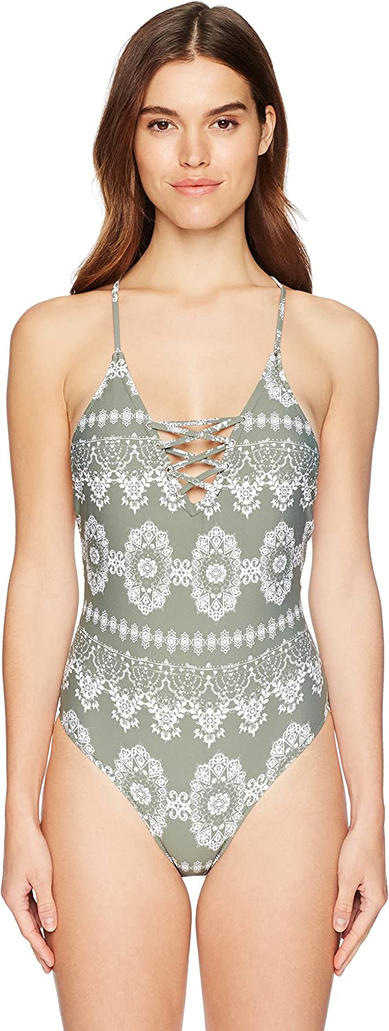 GUESS Women's Paisley LaceUp OnePiece Swimsuit