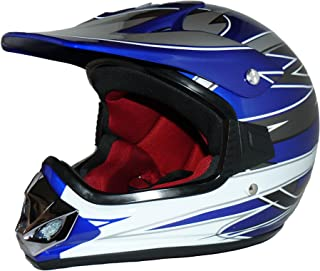 Protectwear Kindercrosshelm, Kindermotorradhelm MaX Racing, Blau Glanz, XXS Youth M