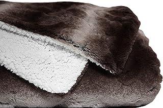 mello Plaid canape Grande Taille, Plaid Fourrure Reversible Peau de Mouton, Couvre lit 220x240, Plaid Polaire Tout Doux, C...