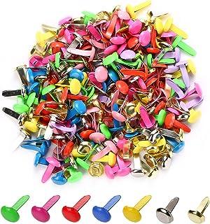 moinkerin 200 Pièces Mini Brads, Attaches Parisiennes à Tête Métal Ronde Multicolore Brads 8mm x 12mm pour Scrapbooking Cr...