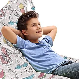 ABAKUHAUS Chambre Adolescent Jouet Sac de Rangement Chaise Lounge, Graphique d'été, Stockage pour Animal en Peluche à Haut...