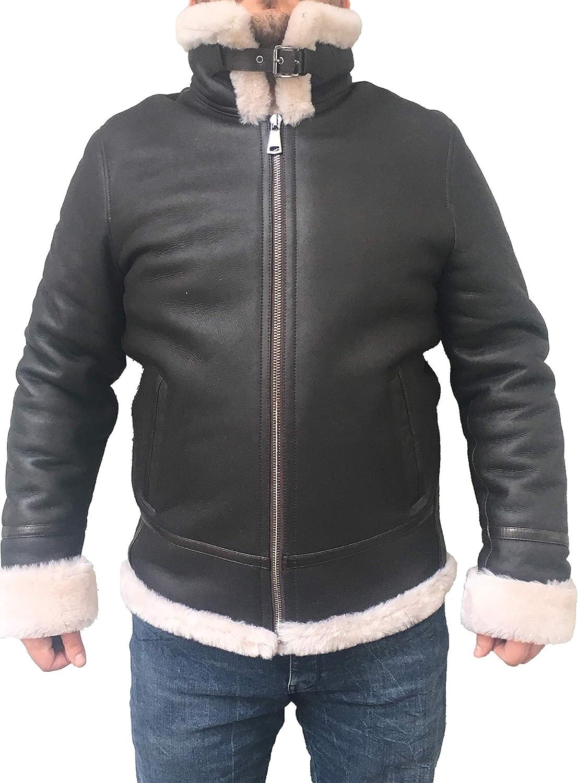 Zavelio Men's Aviator Bomber Hooded Winter Shear free Max 49% OFF Leather Genuine