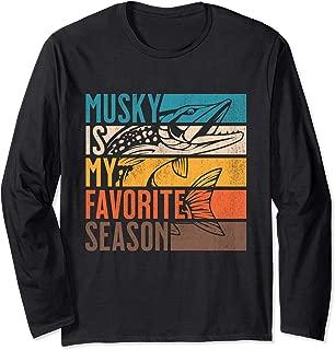 Distressed Vintage Musky Fishing Is My Favorite Season Gift Long Sleeve T-Shirt