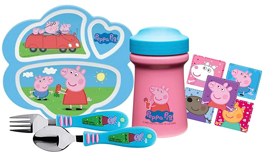 Zak! Designs Toddler Dinnerware Set Includes Sectioned Plate, Sippy Cup, Fork & Spoon Set Featuring Peppa Pig Graphics! BPA-free, 4 Pc Set.