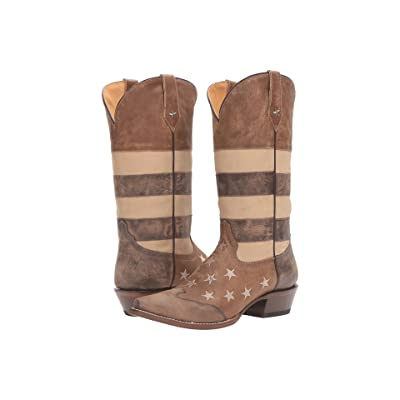 Roper Vintage Americana Flag (Sepia Tone Distressed Leather) Cowboy Boots