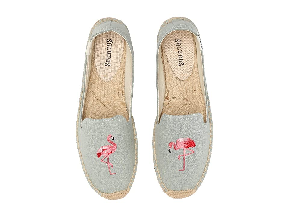 Retro Vintage Flats and Low Heel Shoes Soludos - Smoking Slipper Embroidery Flamingo Chambray Womens Slippers $64.90 AT vintagedancer.com