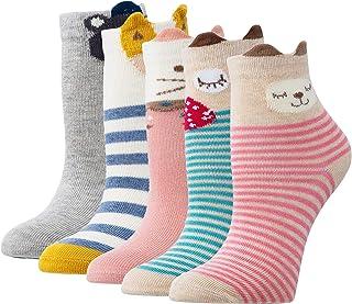 Richaa, Calcetines de algodón para niñas y niños, diseño de dibujos animados, para perros y gatos, calcetines de invierno para niños de 2 a 11 años