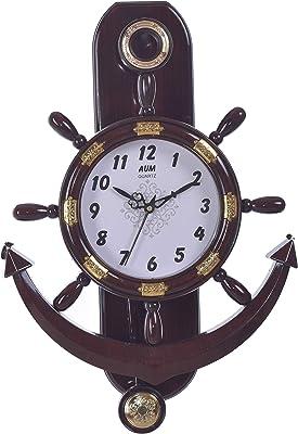 Ashok AUM Plastic Pendulum Wall Clock (43 x 34 cm, Brown)