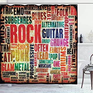 Ambesonne Music Shower Curtain, Retro Rock Roll Lettering Grunge Distressed Colors Back Then Sound Music Theme, Cloth Fabric Bathroom Decor Set with Hooks, 70