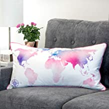 "Urban Loft by Westex Map World Polyester Filled Decorative Throw Pillow Cushion 14"" x 26"" Pink"