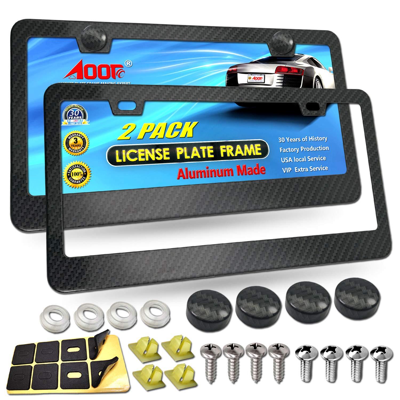 Universal Carbon Fiber Car License Plate Frame Tag Cover W// 2 Screw Caps Black P
