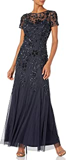 Adrianna Papell Women`s Floral Beaded Godet Gown