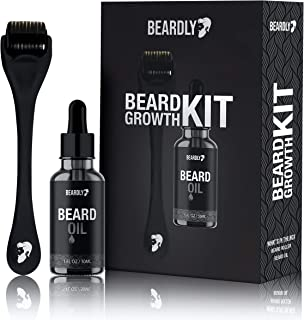 BEARDLY Beard Growth Kit - .2MM Derma Roller w/ Beard Oil for Facial Hair Growth for Men - Grooming Tool to Help You Grow a Beard - Facilitate New and Old Hair Growth