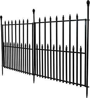 Sunnydaze 2-Piece Spear Top Garden Landscape Metal Border Fence, Black, 29 Inches x 37 Inches Per Panel, 6 Feet Overall