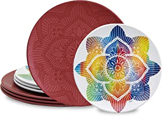 bzyoo BPA-Free Dishwasher Safe 100% Melamine La La Mandala Plate Set Best for Indoor and Outdoor Party (8 PCS Plate set, Service for 4, Red)