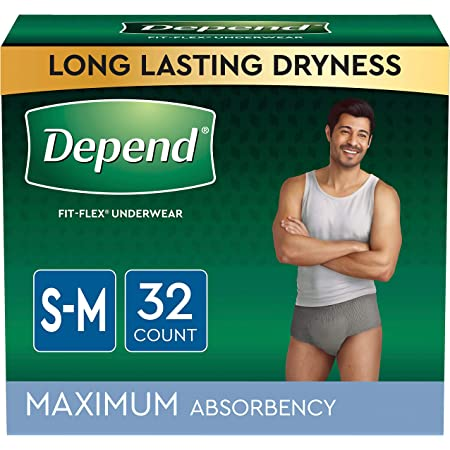 Depend FIT-FLEX Incontinence Underwear for Men, Maximum Absorbency, Disposable, Small/Medium, Grey, 32 Count