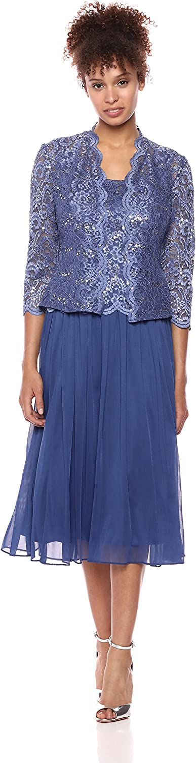 Alex Evenings Women's Mock Lace Jacket Dress with Full Skirt