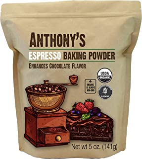 Anthony's Organic Espresso Baking Powder, 5oz, Gluten Free, Non GMO, Enhances Chocolate Flavor