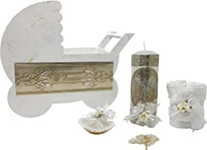 Catholic Baptism Kit in a Wooden Stroller with Towel, Candle, Rosary and Shell for Baby Boys and Girls. Handmade in Mexico Gift for Godparents. Holy Spirit Baptism Candle Set. Kit de Bautizo.