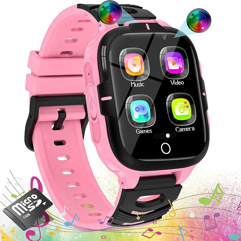 ELEJAFE Reloj Inteligente Niños, Smartwatch para Niñas Teléfono 16 Juegos 2 HD Vídeo Cámara SOS MP3 Música Podómetro Calorías Linterna Despertador Calculadora 3-14 Años Estudiantes Regalo(Rosa)