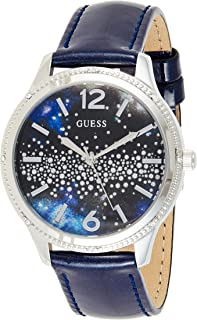 GUESS Womens Quartz Dress Watch, Analog and Leather- W1028L1