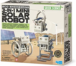 4M 3 in 1 Eco Engineering Mini Solar Robot Toy For Boys, White, 00-03377