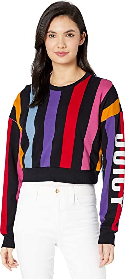 Bold Vertical Stripe Terry Track Pullover