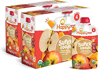 Happy Tot Organic Stage 4 Super Foods Apples & Butternut Squash + Super Chia, 4.22 Ounce Pouch (Pack of 16) (Packaging May...