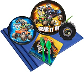 BirthdayExpress Monster Jam Truck Party Supplies Pack with Tire Favor Cups (16)