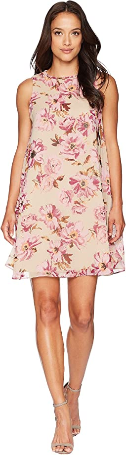 Sleeveless Floral Printed Shift Dress