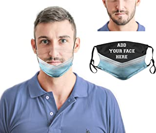 Custom Funny Face Mask With 2 Filters Washable Reusable Face Bandanas Balaclava Realistic Face Mask for Men Women