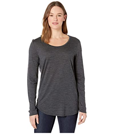 Icebreaker Solace Merino Long Sleeve Scoop (Black Heather) Women