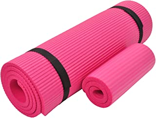 Everyday Essentials 1/2-Inch Extra Thick High Density Anti-Tear Exercise Yoga Mat with Knee Pad and Carrying Strap